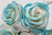 CYAN WHITE GRANDIFLORA (3.5 cm) Mulberry Paper Roses